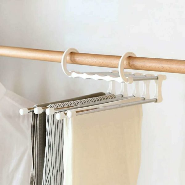 5 in 1 Multi-functional Trouser Storage Rack Adjustable Pants Tie Storage Shelf Closet Organizer Stainless Steel Clothes Hanger