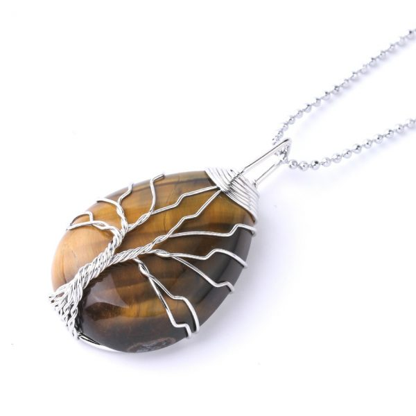 SEDmart 7Chakra Rainbow Natural Stone Copper Wire Pendant Necklace for Women Men Long Chain Tree of Life Statement Jewelry Gift