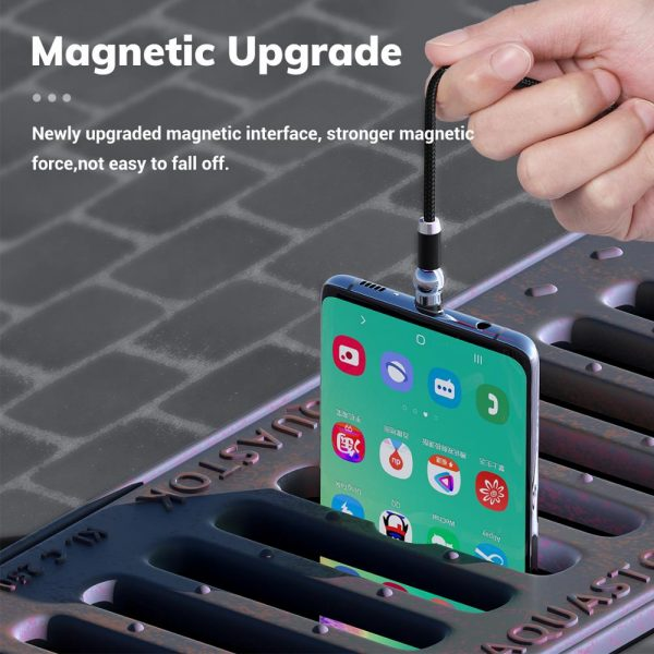 TOPK AM28 360 degree Rotate Magnetic Micro USB Type C Cable LED Magnetic Charging Cable for iPhone 11 Xs Max X 8 7 6