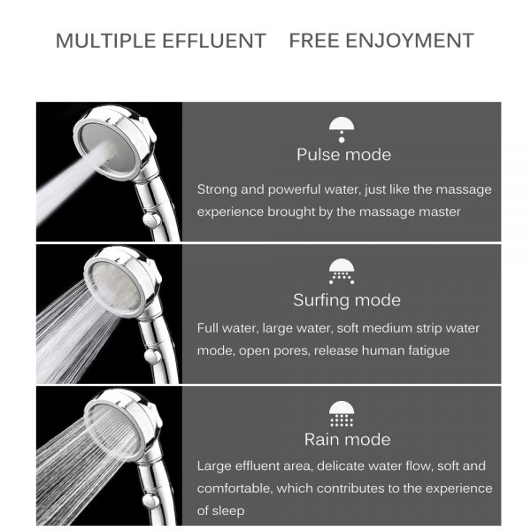 360 Degrees Rotating Shower Head Adjustable Water Saving Shower Head 3 Mode Shower Water Pressure Shower Head With Stop Button