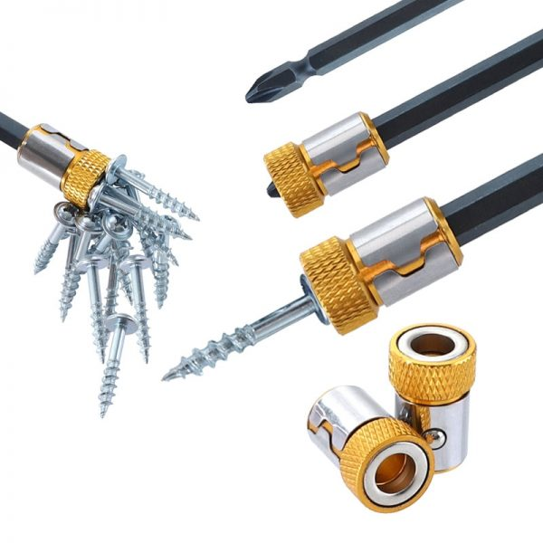 """1pc Universal magnetic ring steel sleeve yellow Metal Strong Magnetizer Screw Pick Up Tool for 1/4"""" 6.35mm screwdriver Bits"""