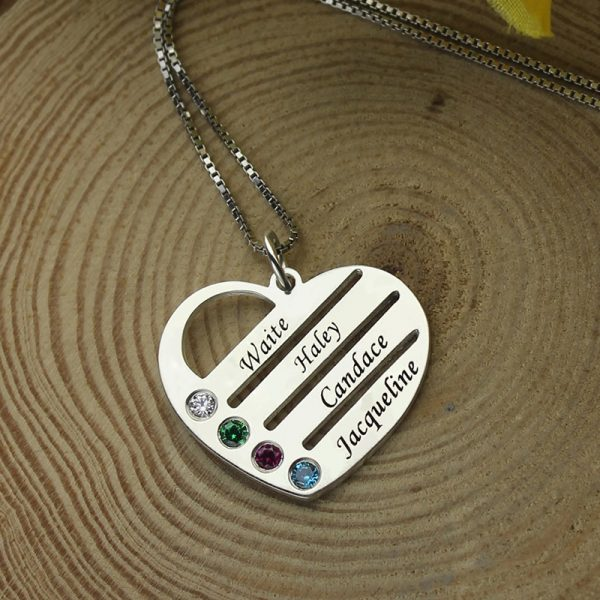 AILIN Personalized Family Necklace Mom Necklace with Kids Names Engraved Heart Mother Necklace Silver Birthstone Jewelry for Mom