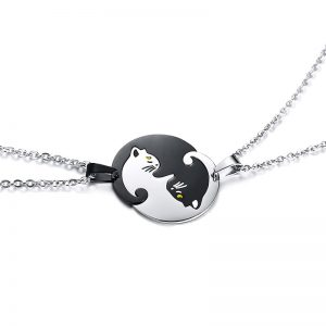 Friendship Jewelry Couples Gifts Set of 2 Yin Yang Cat Pendants Necklace in Stainless Steel Interlocking Like a Puzzle