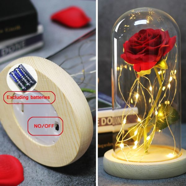 Eternal Rose Led Night Lamp Luminaria Lampara Beauty And The Beast Bedroom Lamp Valentine's Day Wedding Party Mother's Day Gift