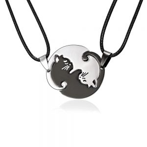 Rinhoo Couples Jewelry Necklaces Black white Couple Necklace Titanium Steel animal cat Pendants Necklace