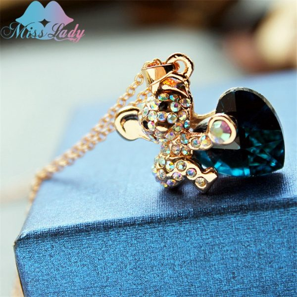 Miss Lady Pendant Necklace Rose Gold color Rhinestone Cute Koala heart necklaces 2017 women Fashion Jewelry for women MLY1121