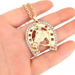 hzew Crystal Horseshoe Necklace Horse pendant Necklace Brand Necklaces Women's Fashion Jewelry gift