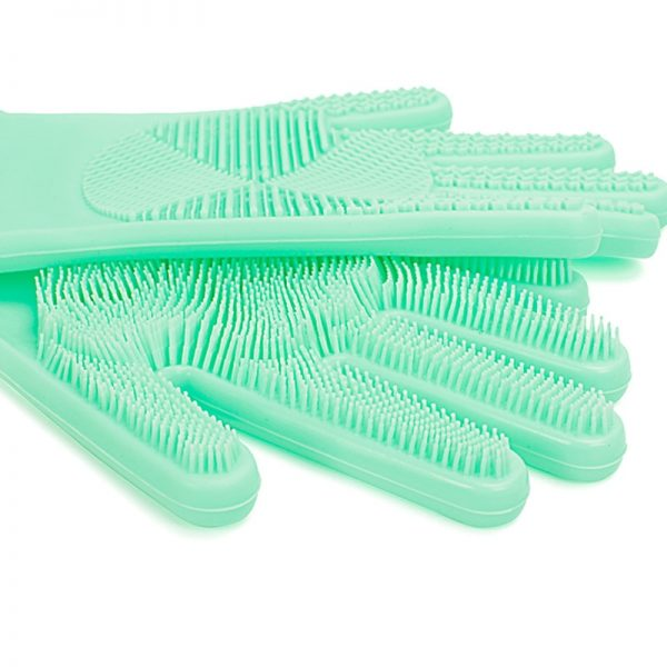 WORKPRO Kitchen Silicone Gloves with Scrubber Magic Washing Gloves for Household Cleaning Multi Purpose Gloves