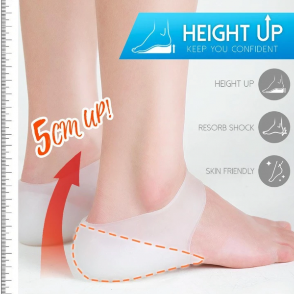 Concealed Footbed Enhancers Massaging Invisible Height Increase Silicone Insoles Socks Pads