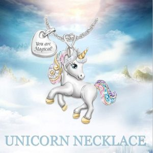 2020 New Cute Rainbow Unicorn Pendant Necklace You are Magical Heart Letter Necklace Fashion Creative Cartoon Horse Jewelry Gift