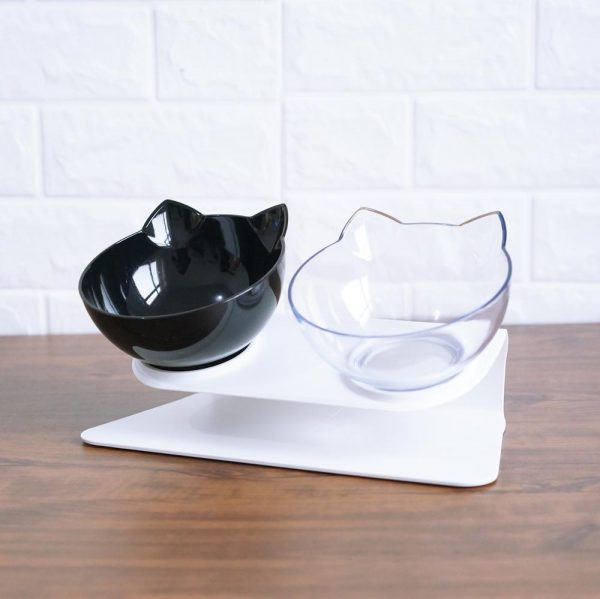 Double Cat Bowl With Stand Pet Dog Raised Non-slip Cat Food Bowl For Cat Water Bowl For Dogs Feeder For Cats Pets Dropshipping