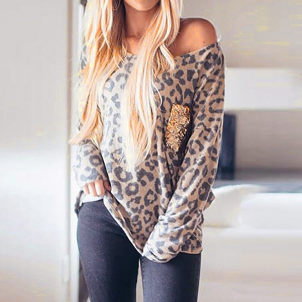Womens Leopard Print T-Shirt Sequins Splicing Easy Tops O-Neck Long Sleeves Autumn Loose Tee Shirts Female Top Lady Streetwear