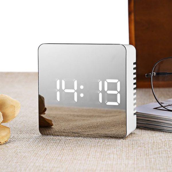 Digital Mirror Alarm Clock LED Electronic Table Desktop Clock Snooze Alarm Clock Temperature Time Display For Home Decoration